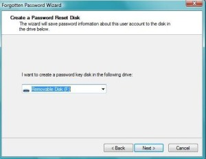 creating password on the following drive