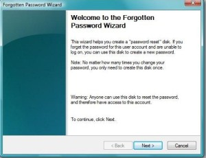 welcome to forgotten password wizard